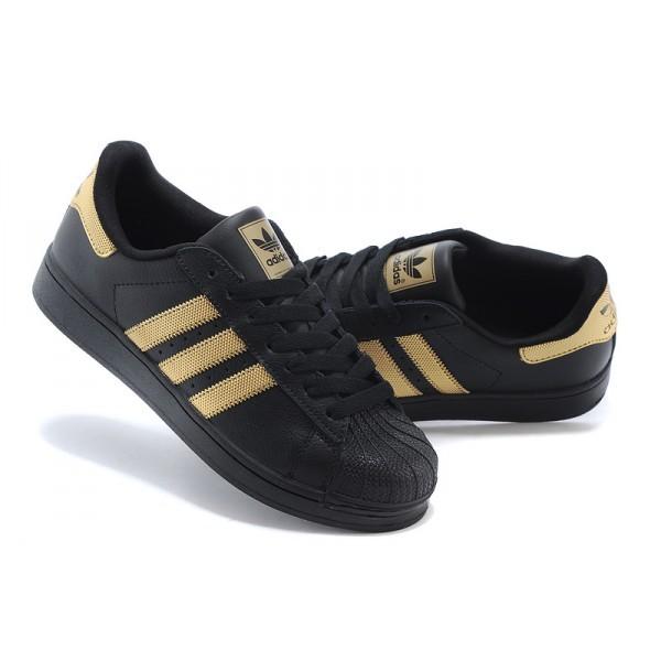 adidas superstar noir doré femme